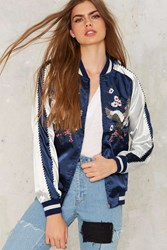 Light As A Feather Embroidered Bomber Jacket Blue