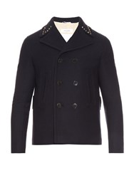 Valentino Rockstud Trim Wool Pea Coat Navy