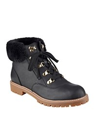 Tommy Hilfiger Tucker Faux Fur And Leather Booties Black