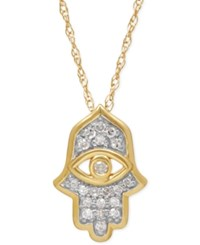 Macy's Diamond Hamsa Pendant Necklace 1 10 Ct. T.W. In 10K Gold Yellow Gold