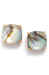 Women's Kate Spade New York Mini Small Square Semiprecious Stone Stud Earrings Abalone Gold