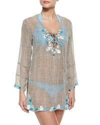 Letarte Sheer Embroidered Netted Coverup