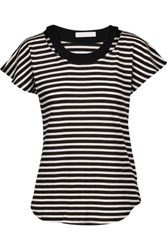 Kain Label Ula Cutout Striped Modal T Shirt Black