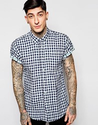 Scotch And Soda Shirt With Gingham Check Short Sleeves Blue