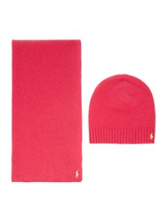 Polo Ralph Lauren Wool And Cashmere Knitted Scarf Pink