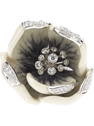 Madame 18Kt White Gold And Diamond Tulip Ring Metallic