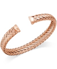 Macy's Woven Cuff Bracelet In 14K Rose Gold Over Sterling Silver