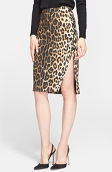 Altuzarra Leopard Print Lace Up Side Pencil Skirt