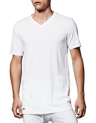 Lacoste Essentials Cotton V Neck Tee Pack Of 3 White