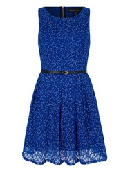 Mela Loves London Sequin Lace Skater Dress Blue