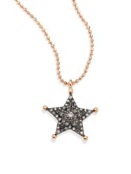 Kismet By Milka Sherriff Star Champagne Diamond And 14K Rose Gold Pendant Necklace Rose Gold Black
