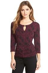 Vince Camuto Keyhole Neck Lace Print Top Regular And Petite Perfect Plum