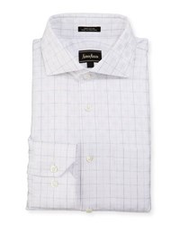 Neiman Marcus Classic Fit Square Pattern Dress Shirt White
