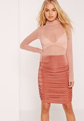 Missguided Textured Slinky Ruched Side Midi Skirt Pink Rose