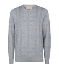 Burberry Lightweight Woven Check Sweater Male Grey