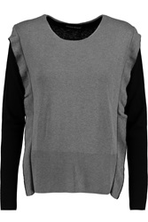 Sonia Rykiel Two Tone Silk And Cashmere Blend Sweater Gray