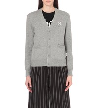 Chocoolate Badge Cotton Blend Cardigan Grey