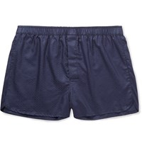 Derek Rose Lombard Cotton Jacquard Boxer Shorts Blue