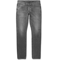 Tom Ford Slim Fit Washed Selvedge Denim Jeans Gray