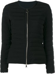 Moncler Collarless Quilted Jacket Black Silver
