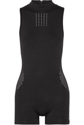Koral Punch Perforated Stretch Jersey Playsuit Black