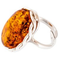 Be Jewelled Adjustable Sterling Silver Amber Ring Amber