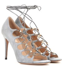 Valentino Rockstud Suede Lace Up Sandals Grey