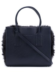 Brunello Cucinelli Furred Detail Tote Bag Black