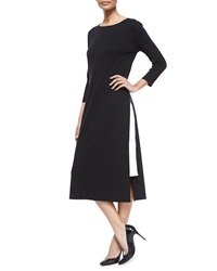 Joan Vass Long Zipper Dress W Contrast Gusset Petite