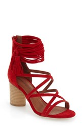 Women's Jeffrey Campbell 'Despina' Strappy Sandal Red Suede