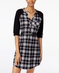 Ultra Flirt Juniors' Lace Trim Plaid Shirtdress Black White
