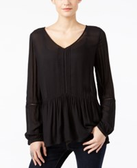 Calvin Klein Jeans Drop Waist Peasant Top Black