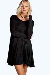 Boohoo Long Sleeve Scoop Neck Swing Dress Black