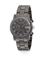 Gucci G Chrono Gunmetal Tone Ceramic Bracelet Watch Silver