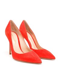 Gianvito Rossi Suede Point Toe Pumps Blue Red