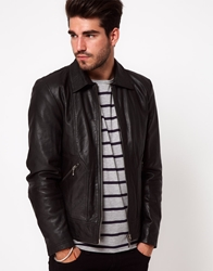 Nudie Jeans Nudie Leather Jacket Jonny Biker Black