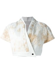 Individual Sentiments Marble Print Draped Cropped Jacket Nude And Neutrals