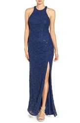 Jump Apparel Women's Open Back Sequin Lace Gown Navy