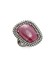 Bavna Ruby Champagne Diamond And Sterling Silver Halo Ring Silver Red