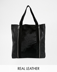 Maison Scotch Leather Shopper Bag With Contrast Faux Pony Skin Black1