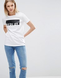 Replay Logo T Shirt Optical White