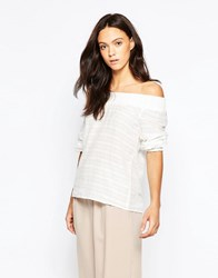 Minimum Menni Off The Shoulder Blouse White