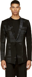 Ma Julius Black And Grey Haze Japanese Paper Serge Blazer