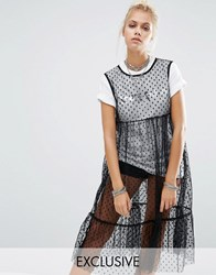 Milk It Vintage Mesh Spot Layer Dress With Space Cadet T Shirt Black With White