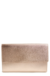 Halogen Saffiano Leather Day Clutch Rose Gold