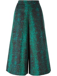 Manoush Jacquard Cropped Palazzo Pants Green
