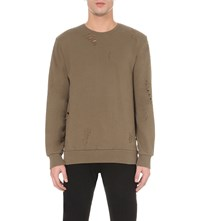 Criminal Damage Shoreditch Cotton Jersey Sweatshirt Khaki