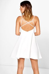 Boohoo Pleat Skirt Bonded Scuba Skater Dress Ivory