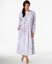 Lanz Of Salzburg Long Flannel Nightgown White Lilac