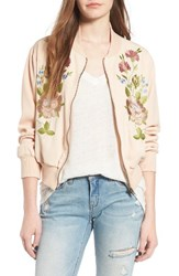 Glamorous Women's Floral Embroidered Bomber Jacket Nude